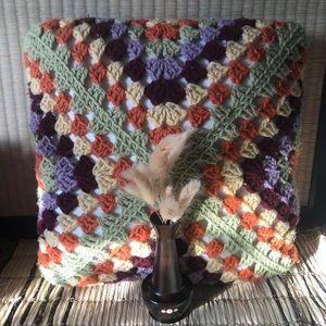 Vintage Cottagecore Crochet Afghan Pillow